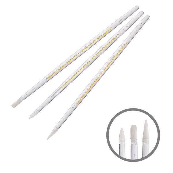 Nail Art Brush Set Silicone 3 Pc Accessories Brushes Gel